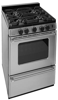 Premier 24 Inch Cordless Sealed Burner Gas Range