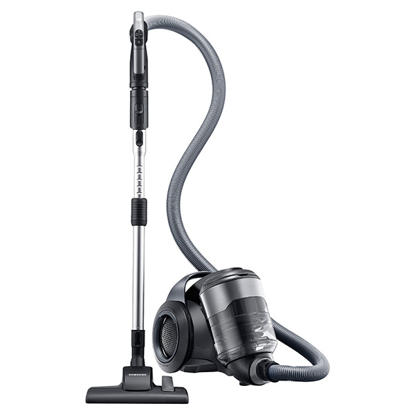 Samsung VC-F700G Motion Sync Bagless Canister Vacuum with Built-In Accessories (Titanium Silver)