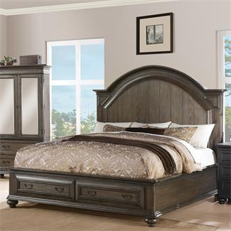 Belmeade Panel Bed with Storage Footboard- Queen/King Storage Bed Rails