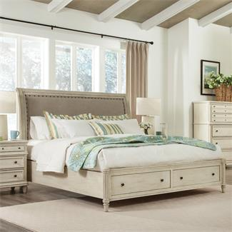 Huntleigh Sleigh Upholstered Storage Bed- Queen/King Sleigh Bed Rails