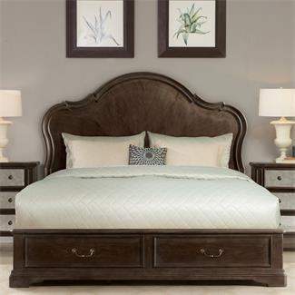 Verona Panel Bed with Storage Footboard- Queen/King Bed Rails