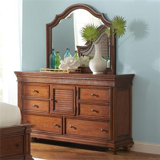 Windward Bay Door Dresser and Arch Mirror- Arch Landscape Mirror