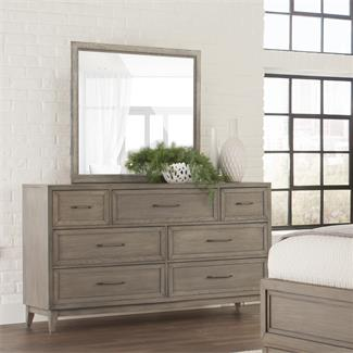 Vogue Seven Drawer Dresser and Landscape Mirror- Seven Drawer Dresser