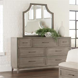 Vogue Seven Drawer Dresser and Arch Mirror- Mirror