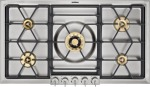 "Gaggenau 200 Series gas cooktop  Stainless steel with stainless steel control panel  Width 36""  Natural gas  Wok burner with 5.5 KW"