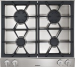 Gaggenau Vario gas cooktop 200 series  Stainless steel control panel  Width 24 ''  Equipped for natural gas.