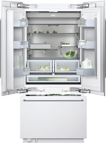 Three-door bottom freezer with integrated ice maker