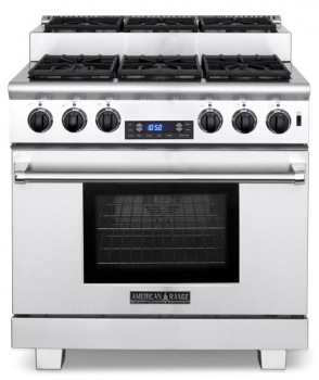 Model: ARR-366ISDF | American Range 36 TITAN STEP-UP DUAL FUEL GAS RANGE