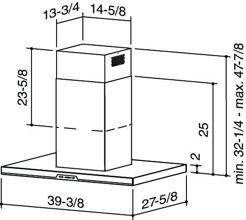 "Model: IC34IQ100SB | Best Eclisse Island - 39-3/8"" x 27-5/8"" Stainless Steel Island Range Hood with iQ6 Blower System 600 CFM"
