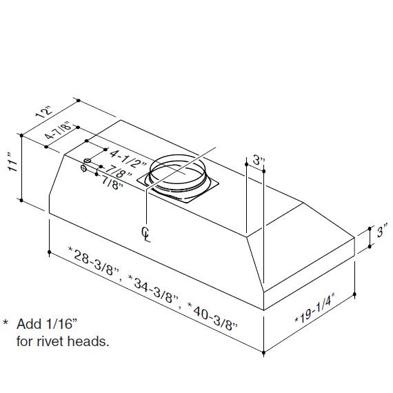 "Model: CP34I309SB   Best 28-3/8"" Stainless Steel Built-In Range Hood with 290 CFM Internal Blower"