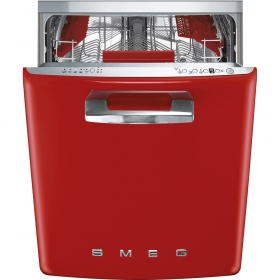 "Smeg Approx 24"" Pre-finished Dishwasher with 50'S Retro Style handle, Red"