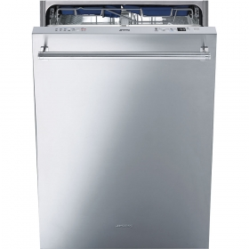 """Smeg 24"""" Pre-Finished Dishwasher with Finger Print Proof Stainless Steel, Maxi-Height Door and Professional Handle"""