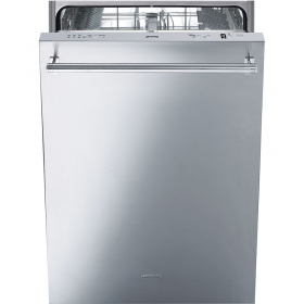 """Smeg 24"""" Dishwasher FingerPrint Proof Stainless Steel, Maxi-Height Door and Professional Handle"""