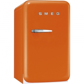 50's Retro Style Mini Refrigerator, Orange, Right hand hinge