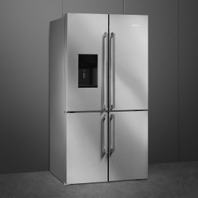 """Smeg 36"""", Stainless Steel, 4-doors Refrigerator with Automatic Freezer"""