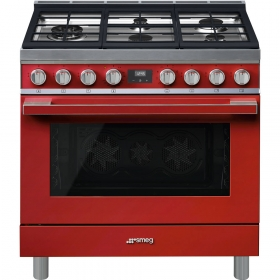 "Smeg ""Portofino"" Built-in kitchen, Red Gas cooktop and multifunction electric oven 36"" x 25"""