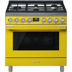 "Smeg ""Portofino"" Built-in kitchen, Yellow Gas cooktop and multifunction electric oven 36"" x 25"""