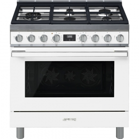 "Smeg ""Portofino"" Built-in kitchen, White Gas cooktop and multifunction electric oven 36"" x 25"""