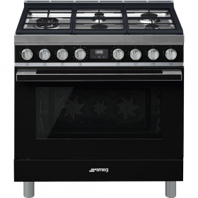 "Model: CPF36UGMBL | Smeg ""Portofino"" Built-in kitchen, Black Gas cooktop and multifunction electric oven 36"" x 25"""