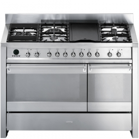"Smeg Free-standing Dual Fuel Dual Cavity ""Opera"" Range Approx. 48"" Stainless Steel Gas Rangetop With Electric Grill"