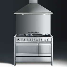 "Model: A3XU6 | Smeg Free-standing Dual Fuel Dual Cavity ""Opera"" Range Approx. 48"" Stainless Steel Gas Rangetop With Electric Grill"