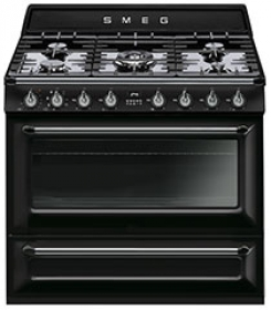 """Smeg Free-standing Dual Fuel Cavity """"Victoria"""" Range Approx. 36"""" Stainless steel - Glossy Black Enamel"""