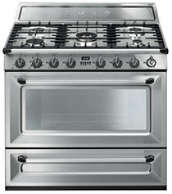 """Smeg Free-standing Dual Fuel Cavity """"Victoria"""" Range Approx. 36"""" Stainless Steel"""
