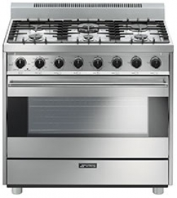 "Smeg Free-Standing Gas Range, 36"", Stainless Steel"