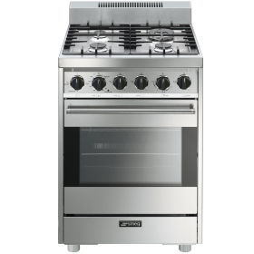 "Smeg Free-Standing Gas Range, 24"", Stainless Steel"
