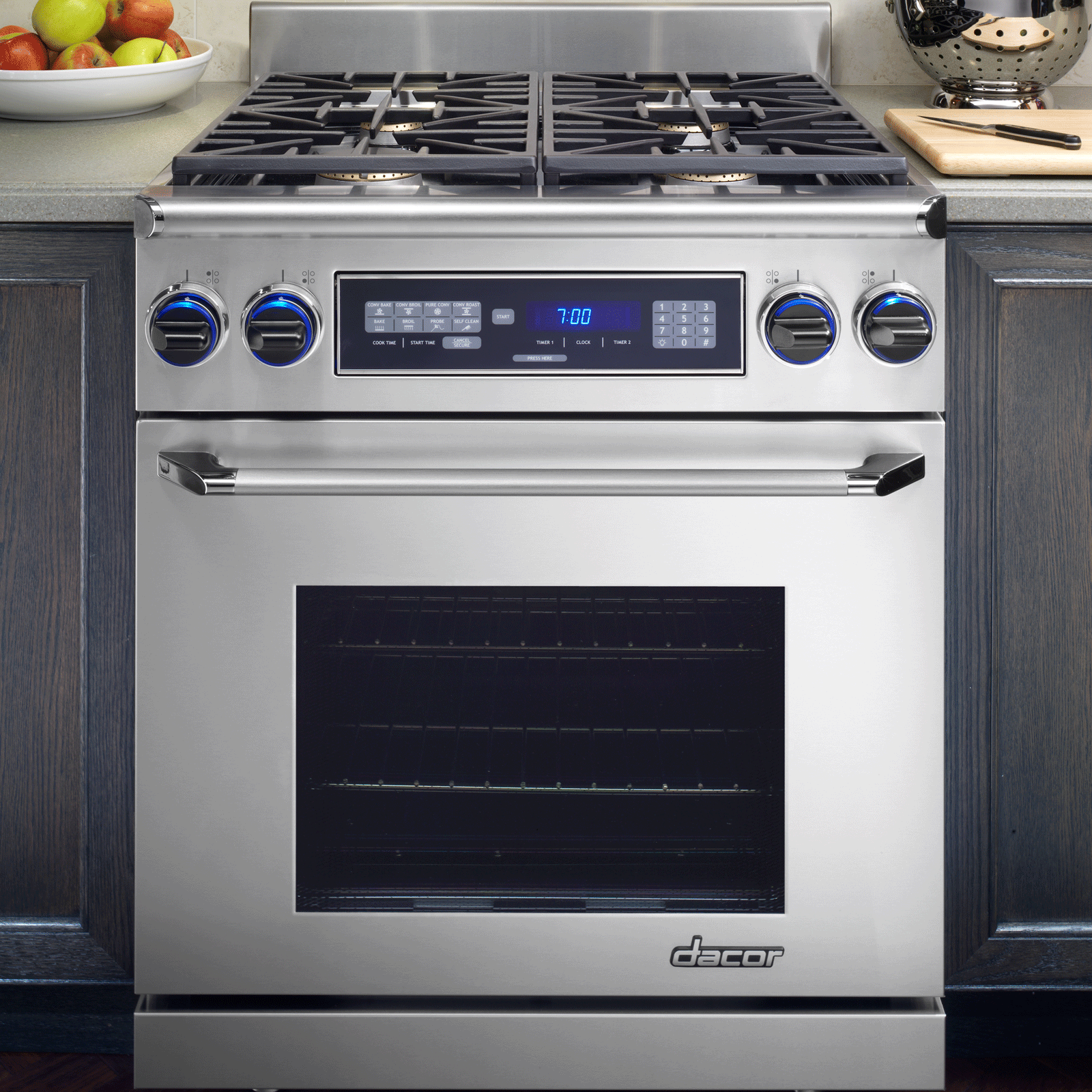 "Dacor  30"" Dual-Fuel Range, in Stainless Steel with Chrome Trim, Natural Gas"