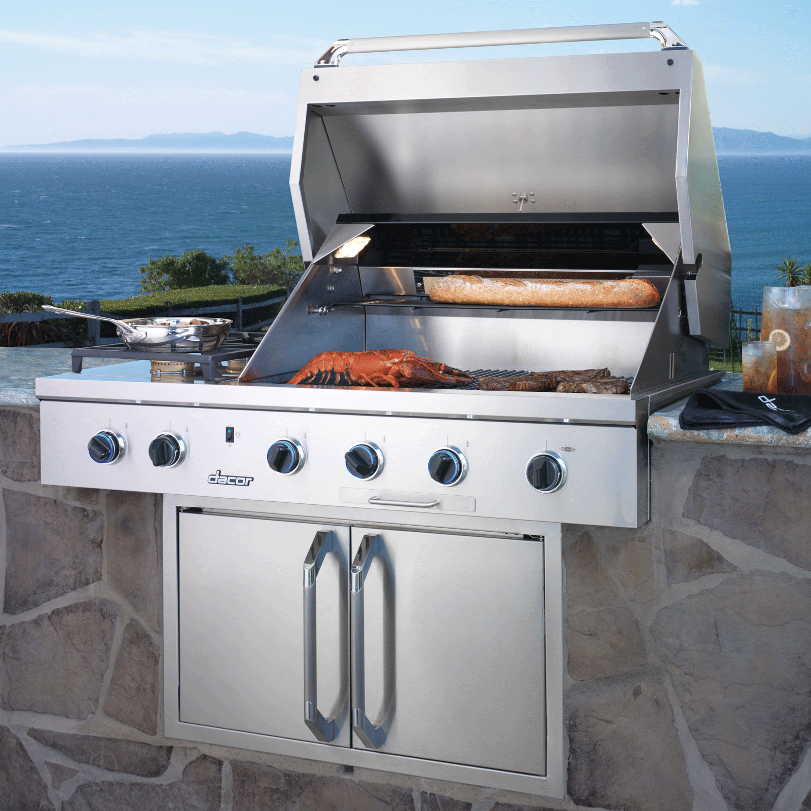 "Dacor Heritage 52"" Outdoor Grill, in Stainless Steel with Chrome Trim, includes Sear Burner, Natural Gas"