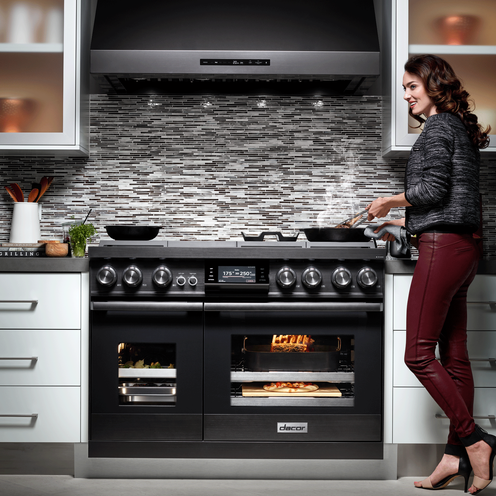 "Model: DOP48M96DPM | Dacor  Modernist 48"" Pro Dual-Fuel Steam Range, Graphite Stainless Steel, Liquid Propane"