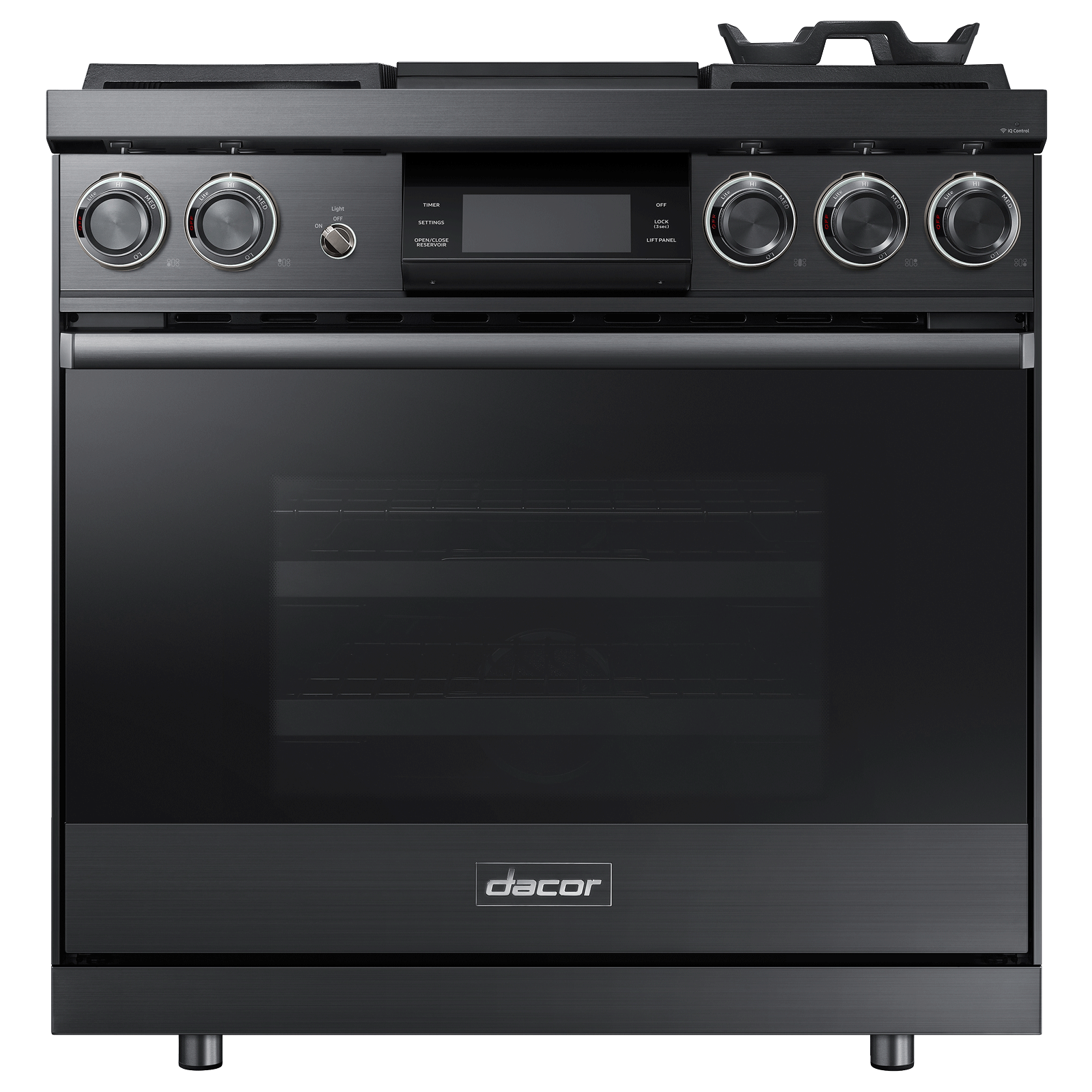 "Model: DOP36M94DLM-FM | Dacor 36"" Pro Dual-Fuel Steam Range, Graphite Stainless Steel, Natural Gas"