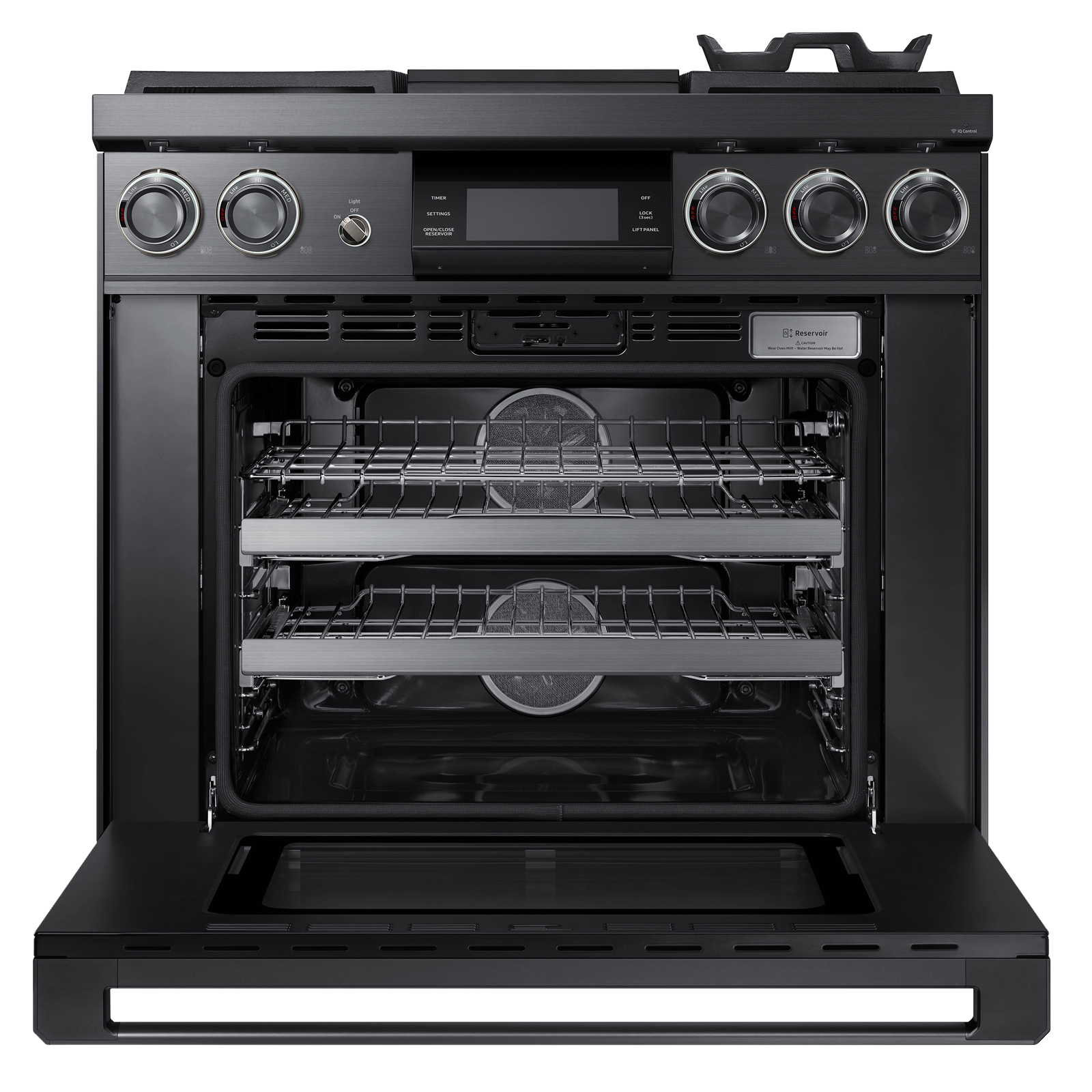 "Model: DOP36M94DHM | Dacor Modernist 36"" Pro Dual-Fuel Steam Range, Graphite Stainless Steel, Natural Gas/High Altitude"