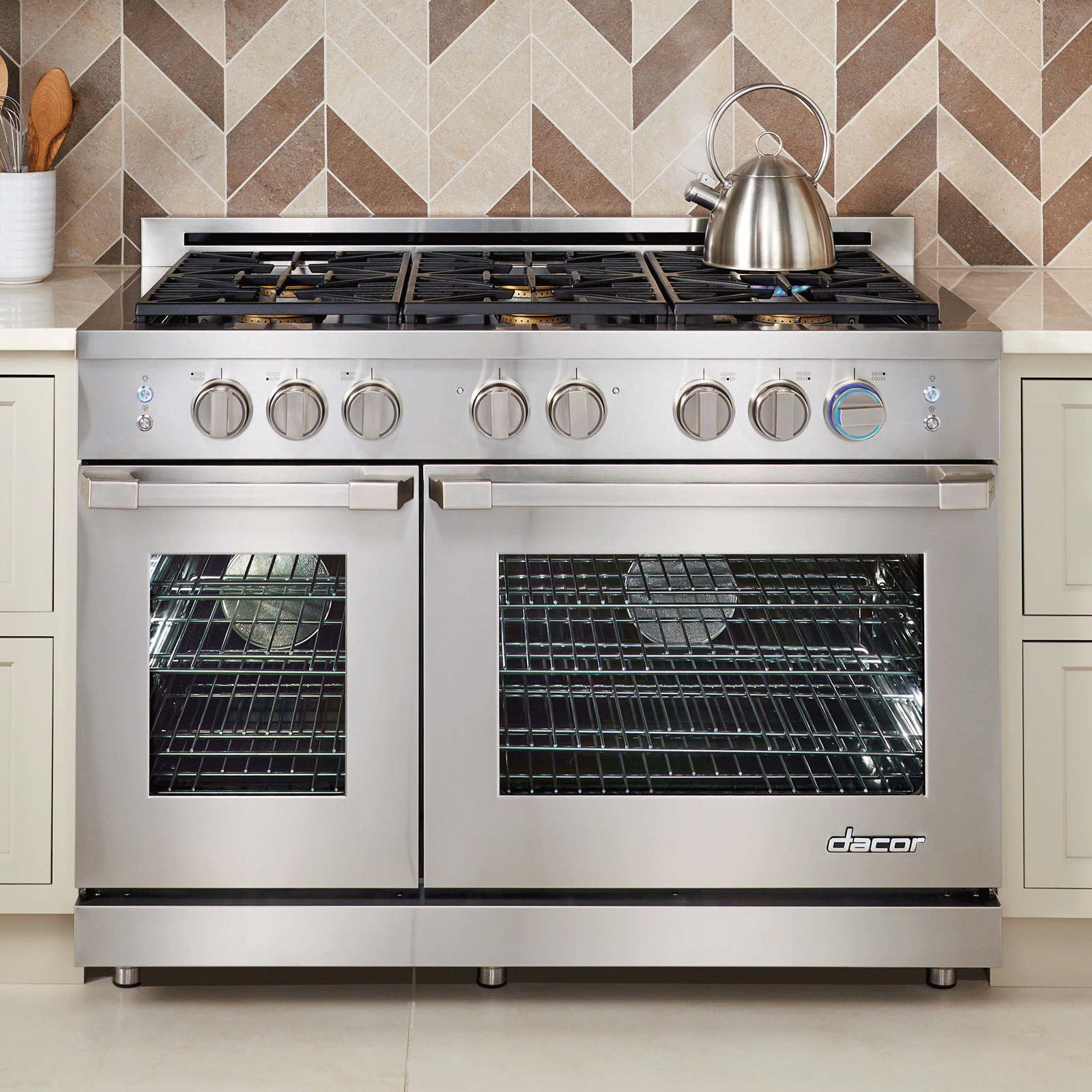 "Dacor Renaissance 48"" Self-Cleaning Gas Range with Pro Style Handle.- Liquid Propane"