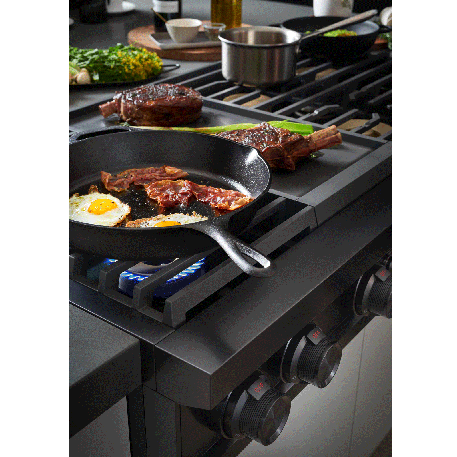 "Model: DTT48M976AM | Dacor Modernist 48"" Gas Rangetop, Graphite Stainless Steel, Liquid Propane/High Altitude"