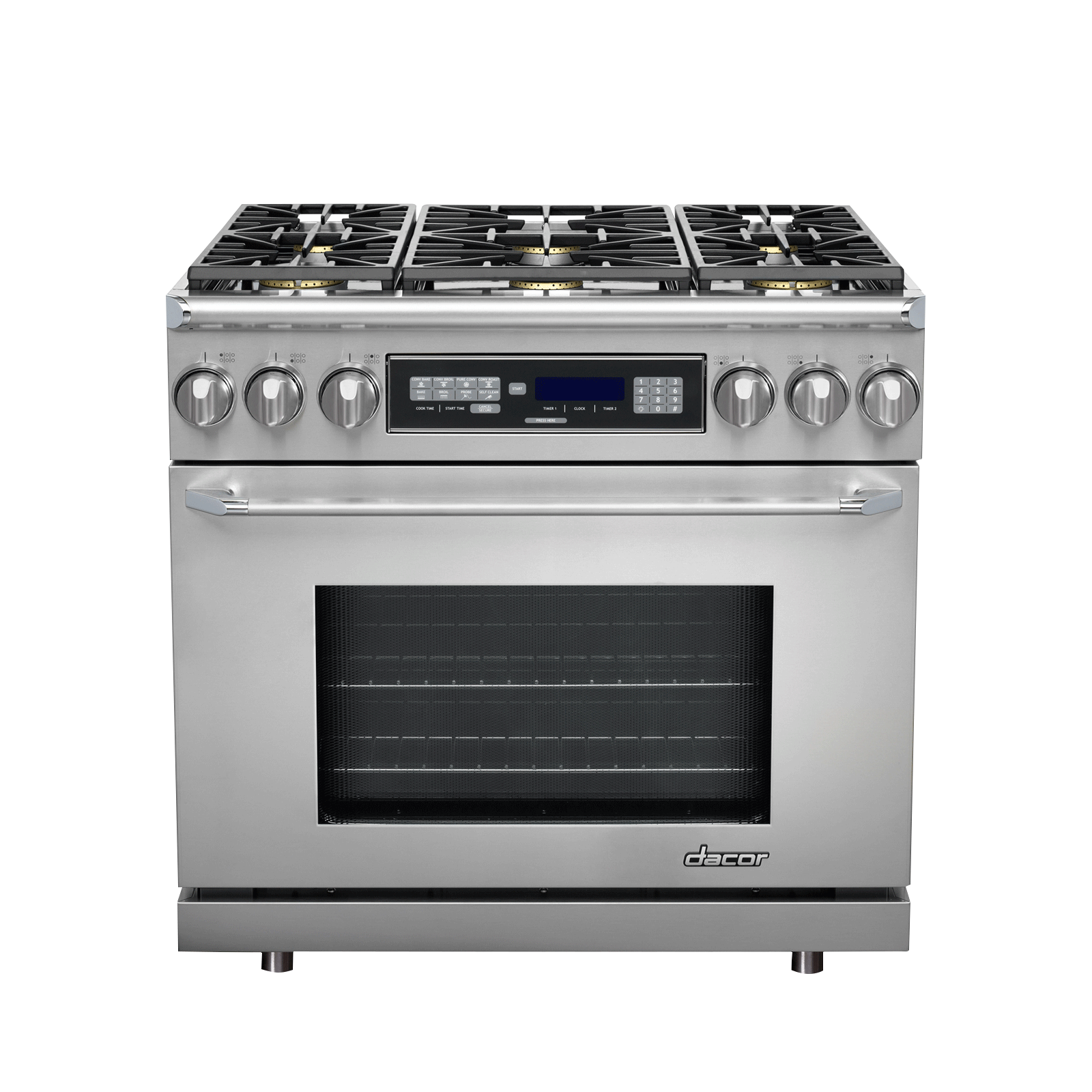 "Dacor  36"" Dual Fuel Range, in Stainless Steel with Chrome Trim, Natural Gas"