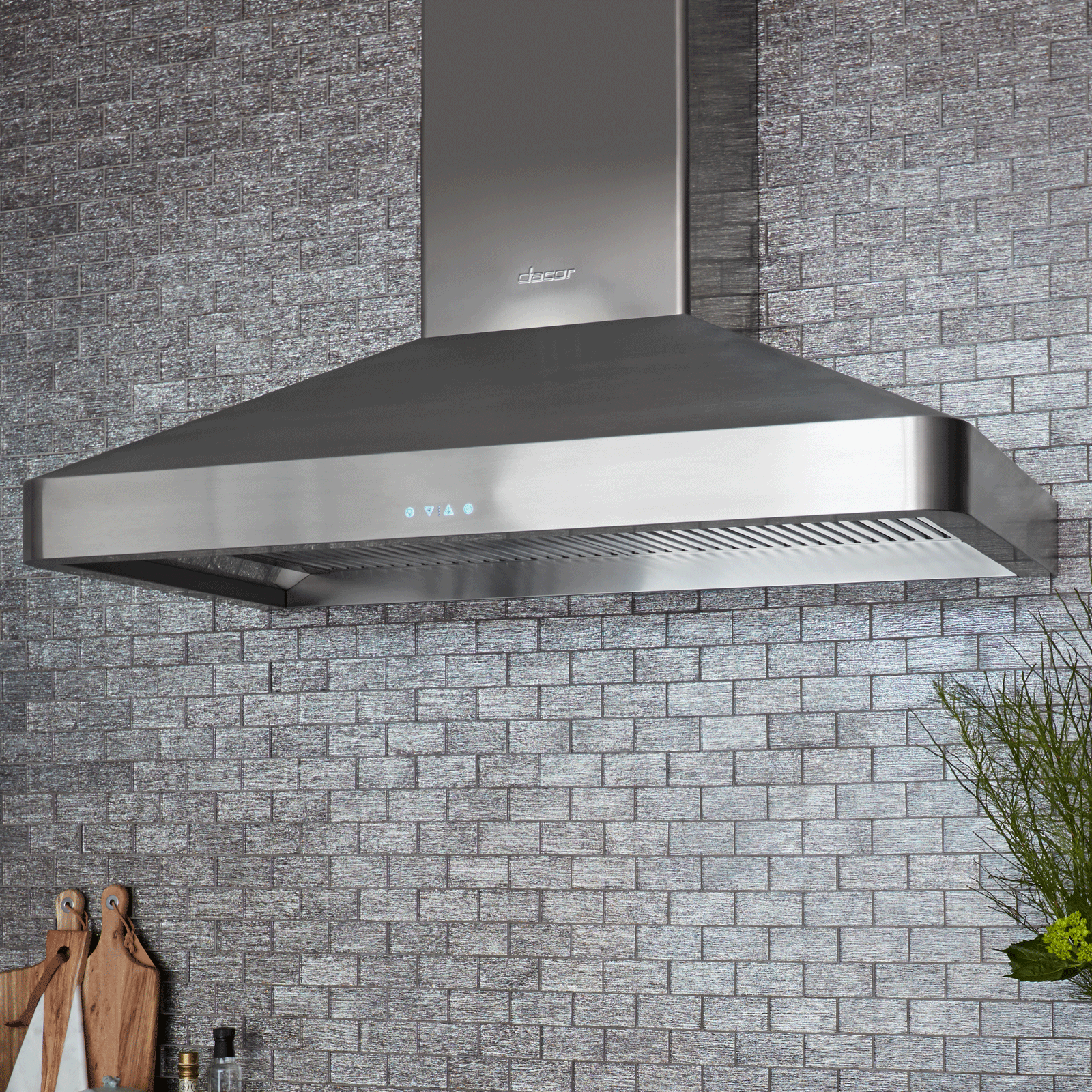 "Model: DHW482 | Dacor Heritage 48"" Chimney Hood, wall-mounted in Stainless Steel"