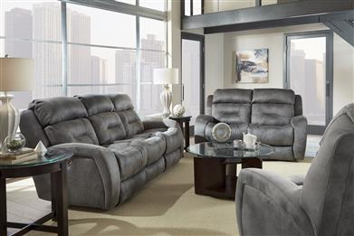 63P - Double Recline Sofa w/ Power Headrest & Dropdown Table