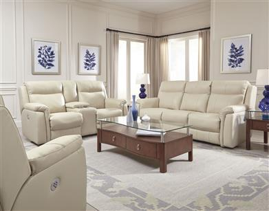 78P - Double Reclining Console Sofa with Power Headrest