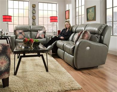 62P - Double Reclining Sofa with Power Headrest and 2 Pillows
