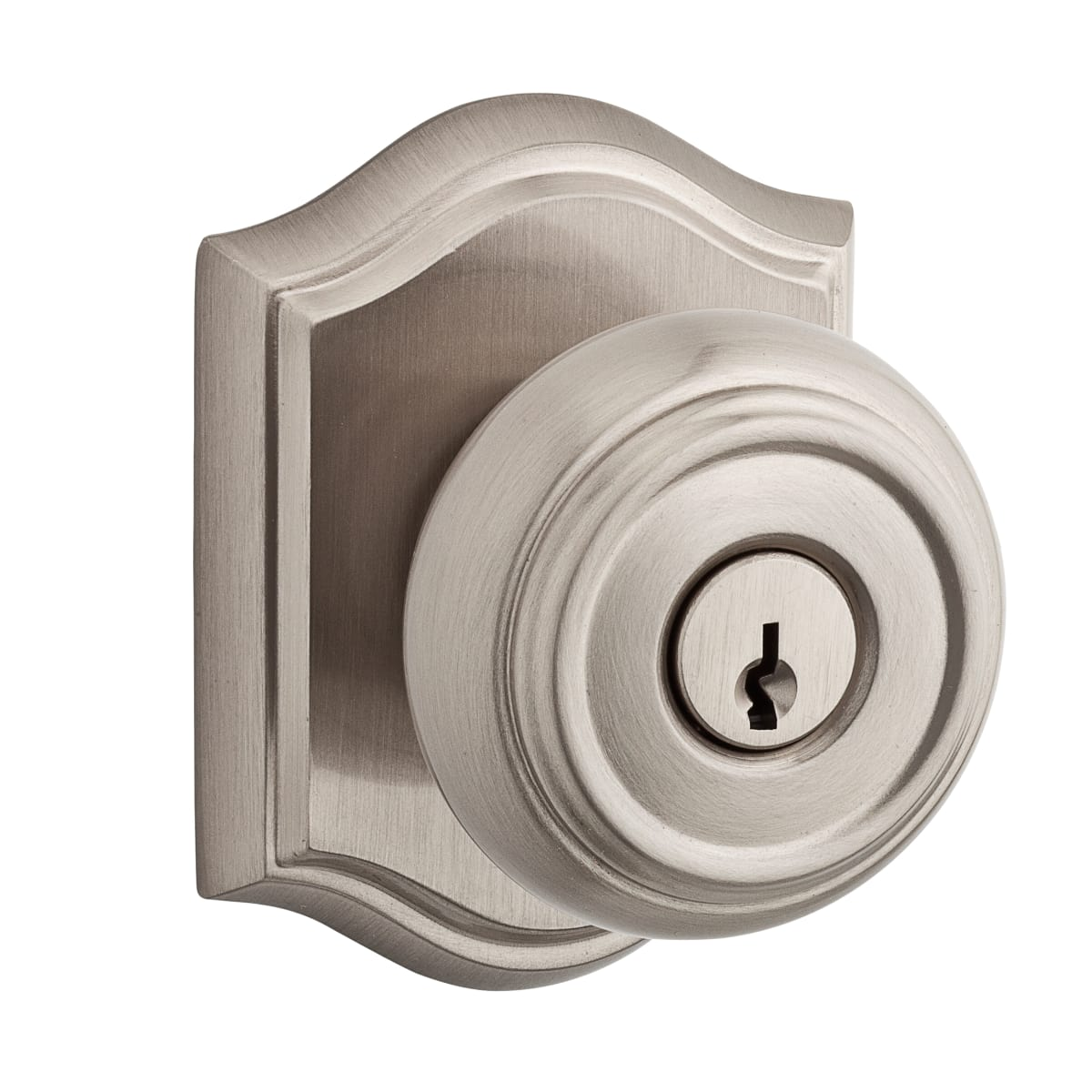 Baldwin Traditional Single Cylinder Keyed Entry Door Knob Set with Traditional Arch Rose