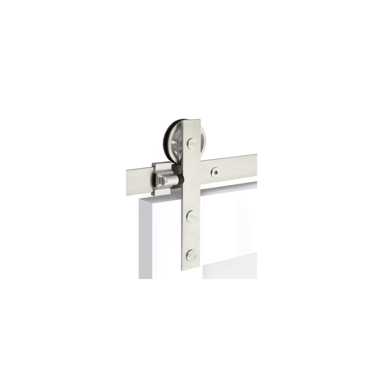 Emtek Modern Rectangular 120 Inch Face Mount Double Barn Door Hardware Set - Includes Track, Hangers, and Matching Hardware