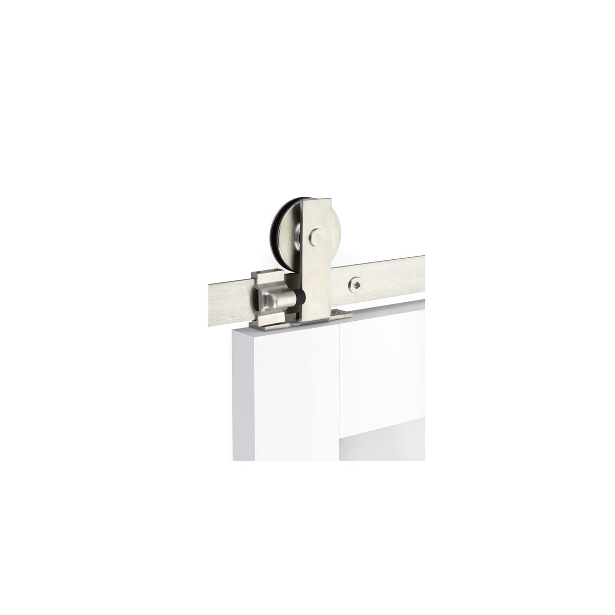 Emtek Modern Rectangular 72-5/8 Inch Top Mount Double Barn Door Hardware Set - Includes Track, Hangers, and Matching Hardware