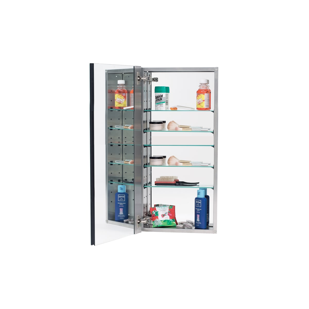 """Alno 2000 Series 15"""" x 35"""" Single Door Recessed Medicine Cabinet with Stainless Steel Interior, 4 Glass Shelves and Beveled Mirror"""