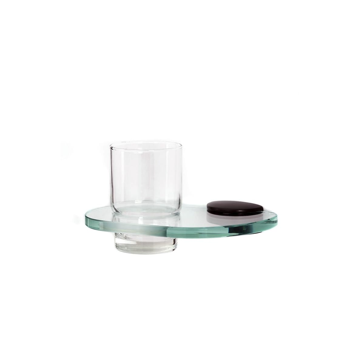 Alno Euro Series Wall Mounted Glass Tumbler with Brass Mounting Bracket and Glass Shelf