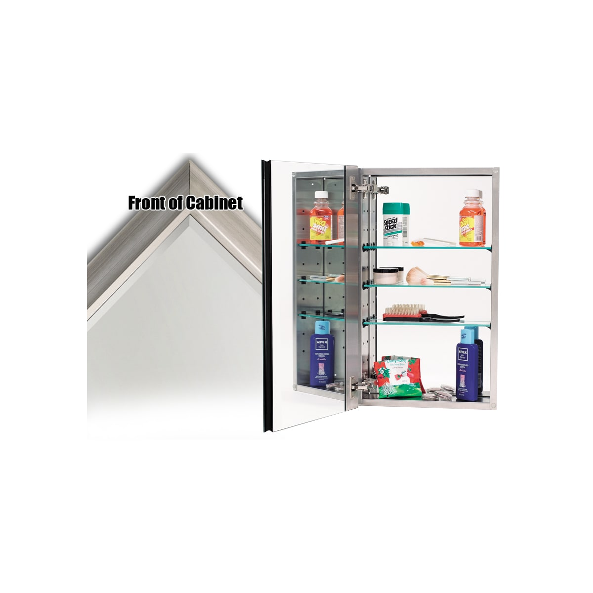 """Alno 4000 Series 15"""" x 25"""" Single Door Recessed Medicine Cabinet with Stainless Steel Interior and Contemporary Framed Mirror"""