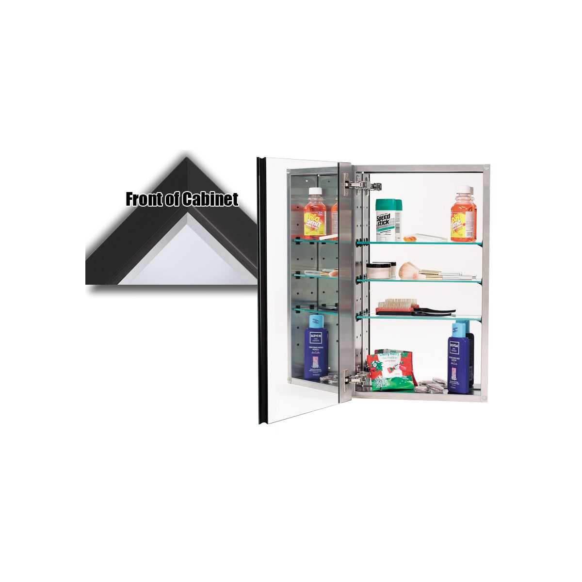 """Alno 3000 Series 15"""" x 25"""" Single Door Recessed Medicine Cabinet with Stainless Steel Interior and Traditional Framed Mirror"""