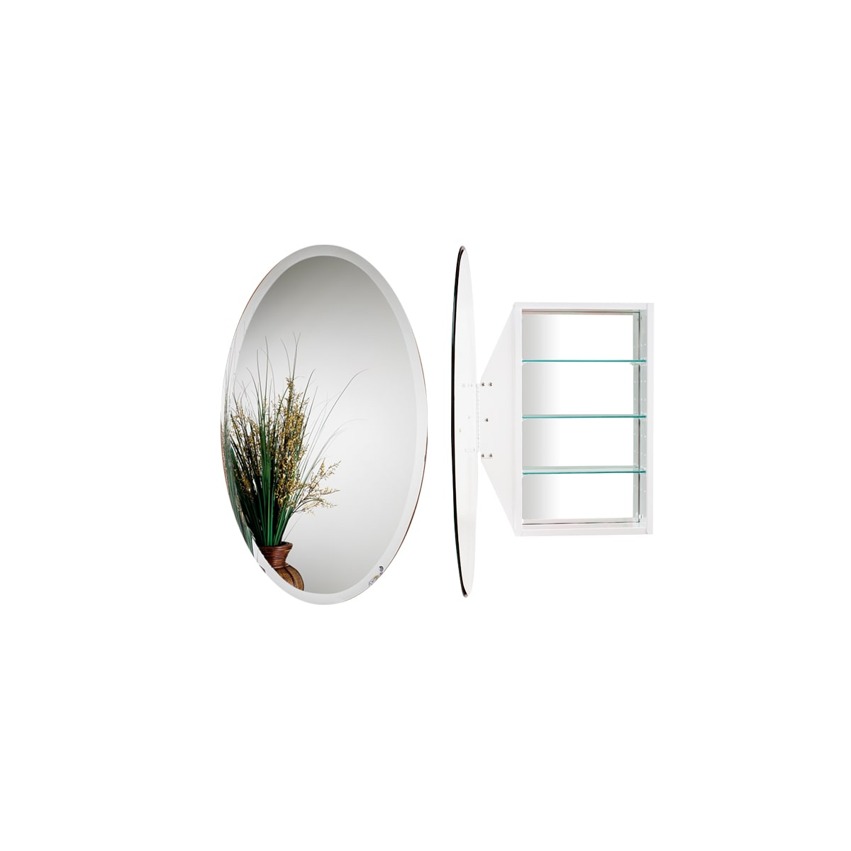 """Alno Standard Oval 21-1/4"""" x 31-1/4"""" Oval Single Door Recessed Medicine Cabinet with White Interior"""