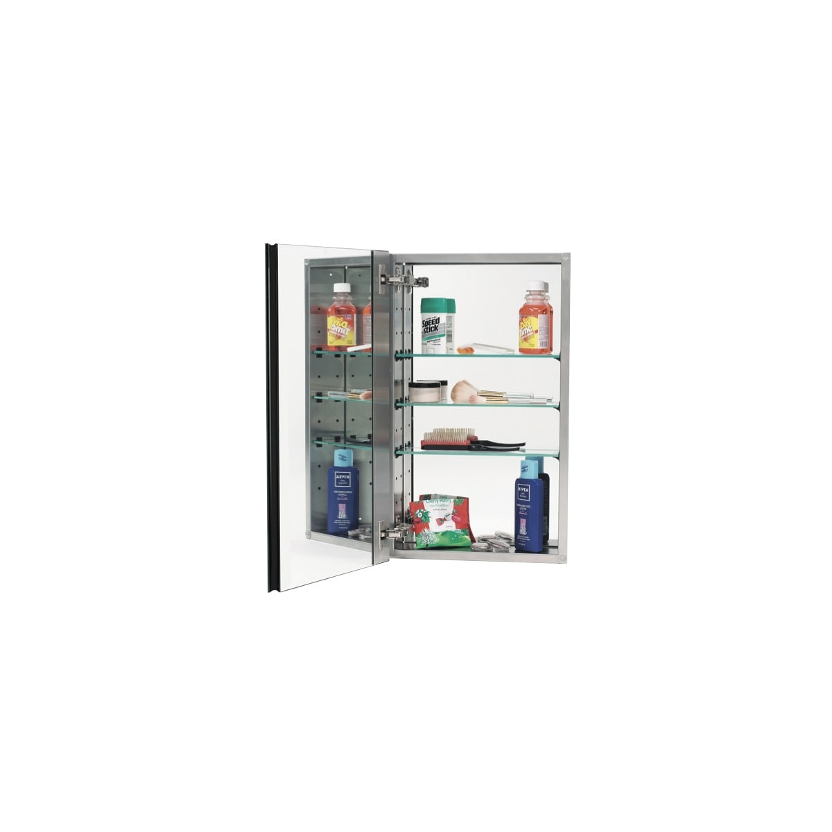 """Alno 2000 Series 15"""" x 25"""" Single Door Recessed Medicine Cabinet with Stainless Steel Interior, 3 Glass Shelves and Plain Edged Mirror"""